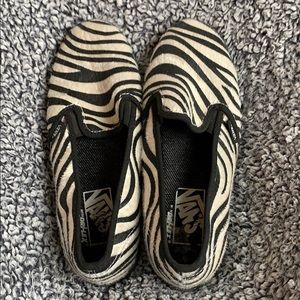 Vans zebra print calf hair slip on shoes